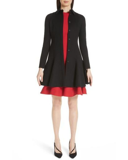 Valentino - Black Compact Double Face Wool Peplum Coat - Lyst