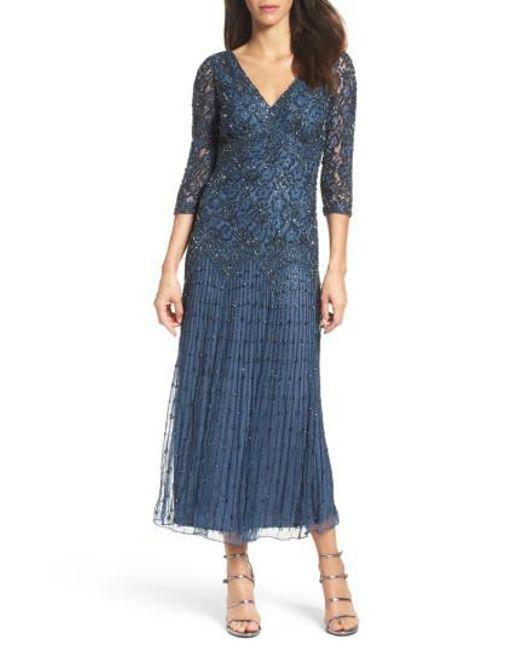 Pisarro Nights - Blue Beaded Mesh Dress - Lyst