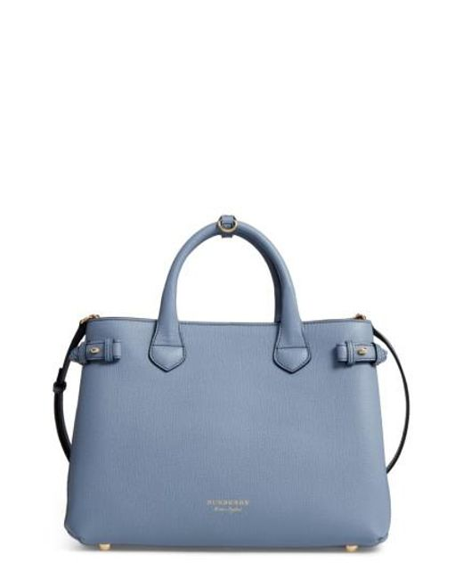 Burberry | Blue Medium Banner House Check Leather Tote | Lyst