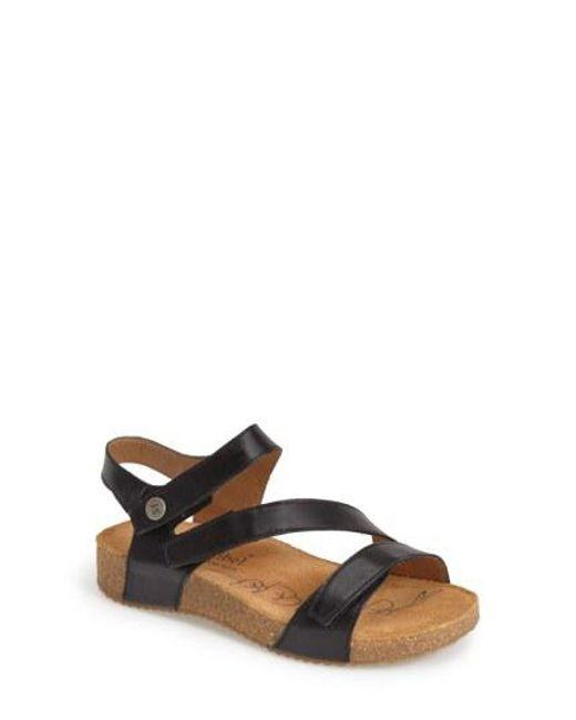 Josef Seibel - Black 'tonga' Leather Sandal - Lyst