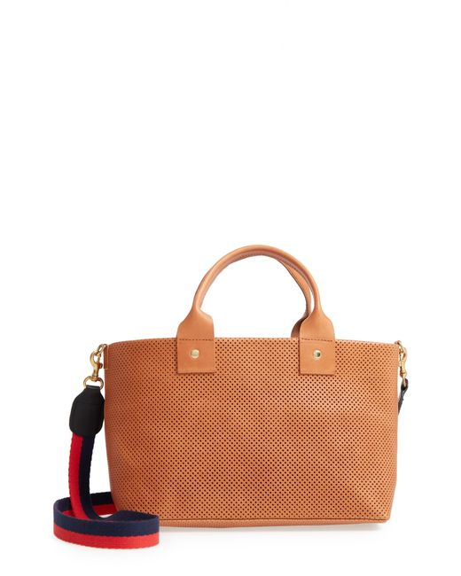 Clare V. - Brown Perforated Bruno Leather Crossbody Bag - Lyst