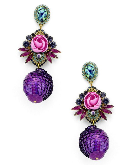 Elizabeth Cole - Purple Octavia Drop Earrings - Lyst