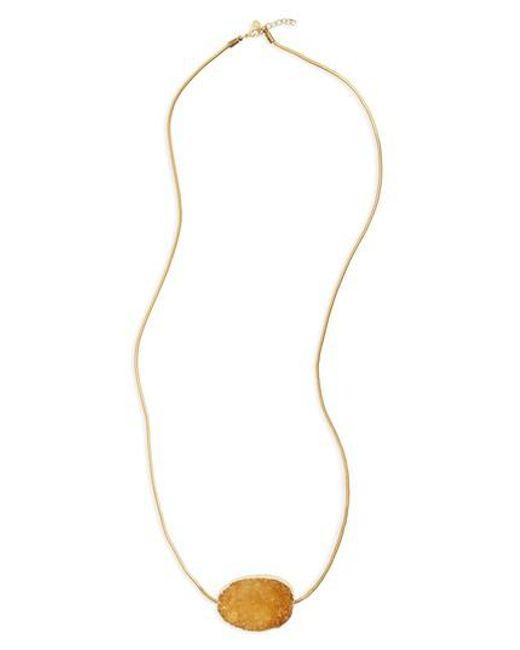 Shashi | Metallic Ivy Drusy Pendant Necklace | Lyst