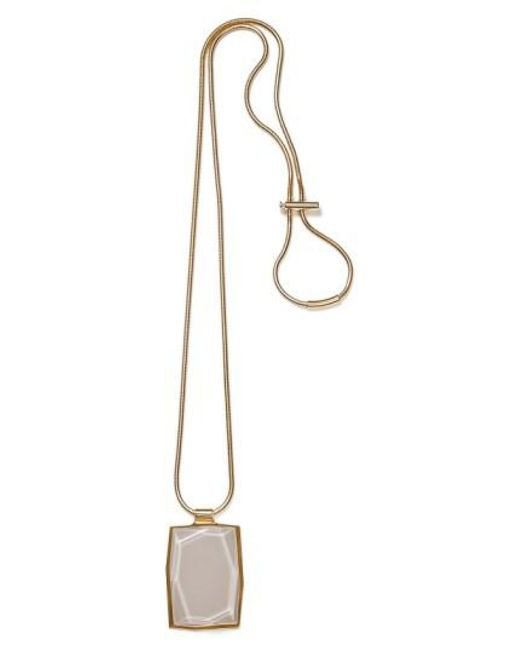 Lafayette 148 New York | Metallic Faceted Pendant Drop Necklace | Lyst