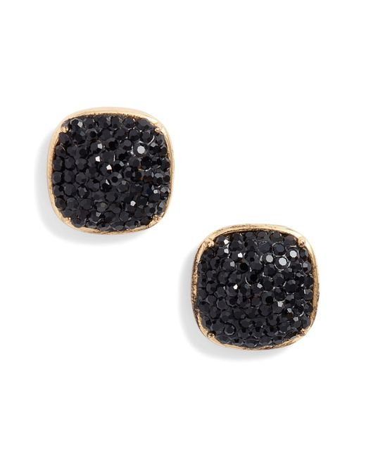 Kate Spade - Black Pave Small Square Stud Earrings - Lyst
