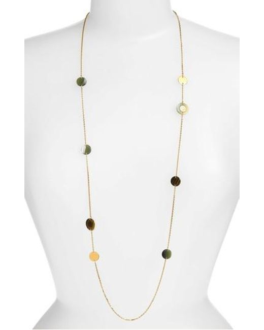 Tory Burch | Metallic Colorblock Rosary Station Necklace | Lyst