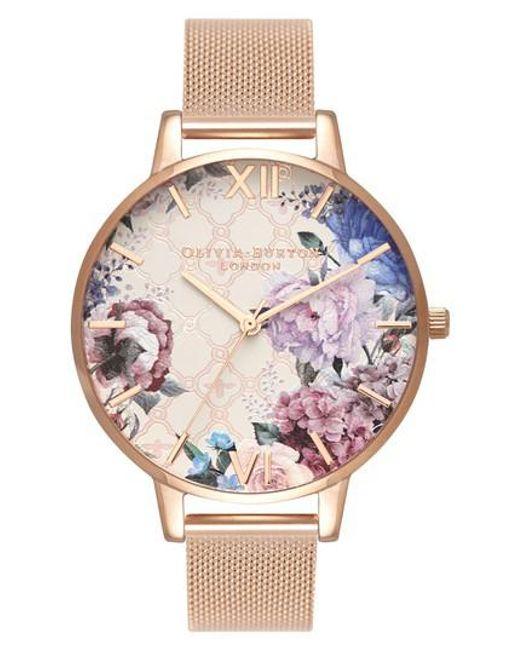 Olivia Burton - Multicolor Glasshouse Mesh Strap Watch - Lyst