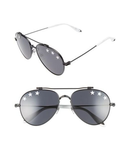 cef2a70dc0 Lyst - Givenchy Star Detail 58mm Mirrored Aviator Sunglasses in Black