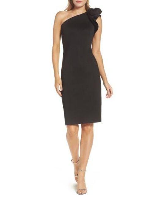 Eliza J   Black One Shoulder Sheath Dress   Lyst