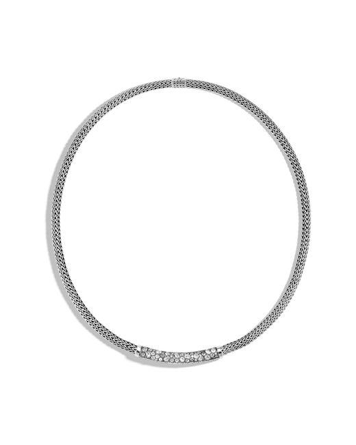 John Hardy - Metallic Classic Chain Grey Diamond Pave Necklace - Lyst