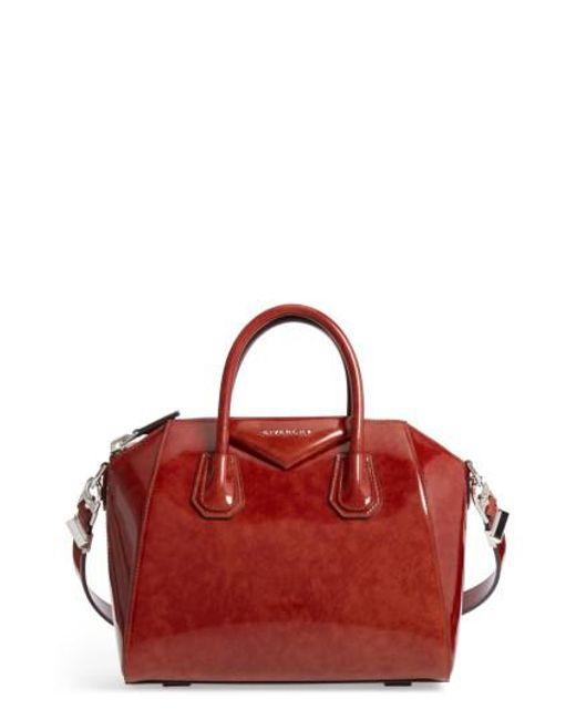 Givenchy | Brown Small Antigona Glazed Leather Satchel | Lyst