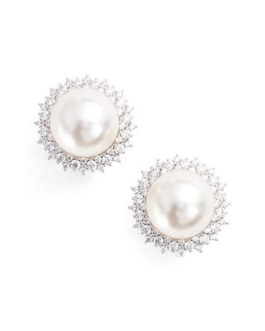 Nadri   Metallic Imitation Pearl Clip Stud Earrings   Lyst