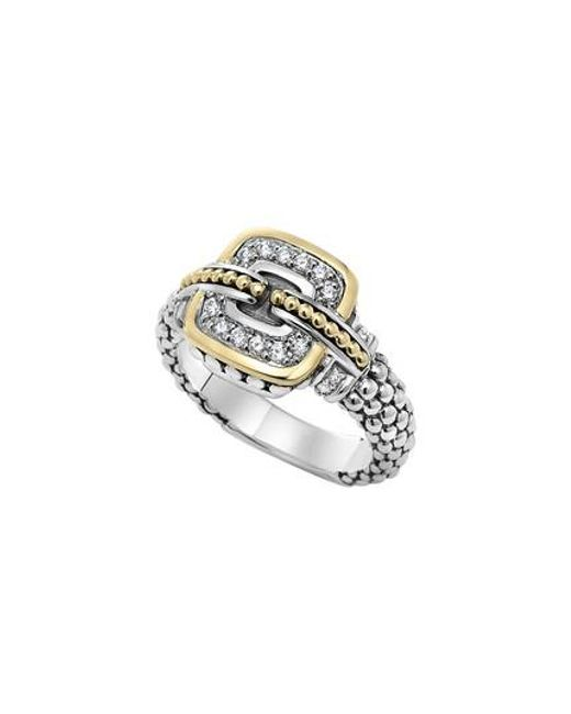 Lagos - Metallic 'cushion' Small Diamond Ring - Lyst