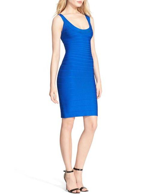 Hervé Léger | Blue U-neck Bandage Dress | Lyst