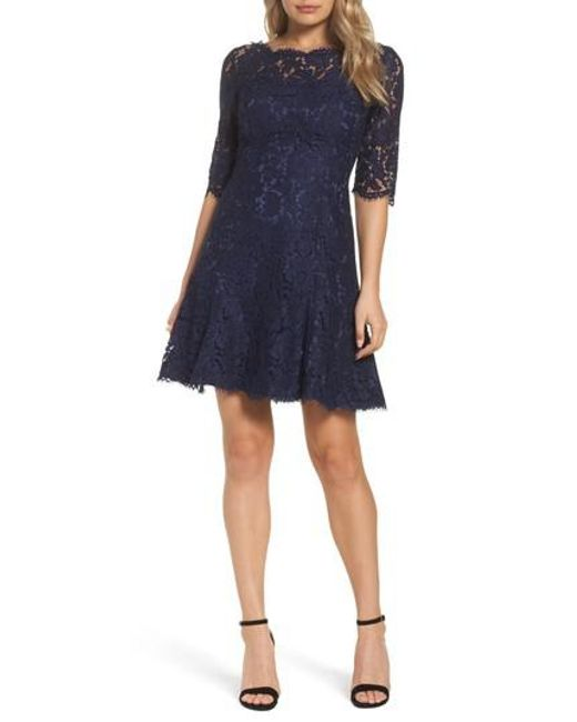 Eliza J | Blue Lace Tulip Dress | Lyst