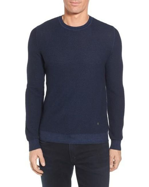Stone Rose | Blue Honeycomb Merino Crewneck Sweater for Men | Lyst