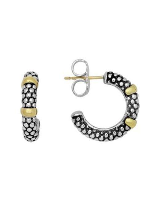 Lagos | Metallic Two Tone Caviar Hoop Earrings | Lyst