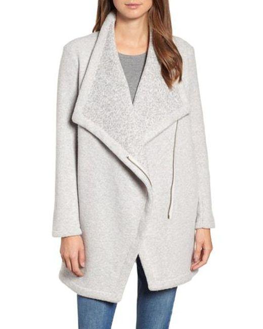 BB Dakota - Gray Maggie Brushed Fleece Drape Collar Coat - Lyst