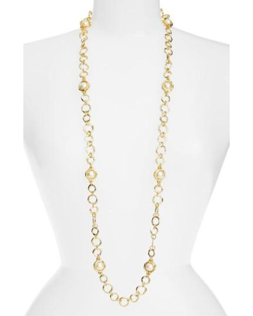 Karine Sultan | Metallic Long Imitation Pearl Necklace | Lyst