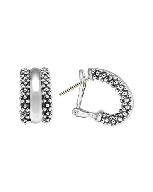 Lagos   Metallic Caviar(tm) Sterling Silver Hoop Earrings   Lyst