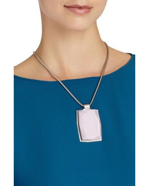 Lafayette 148 New York | Metallic Faceted Pendant Drop Necklace | Lyst