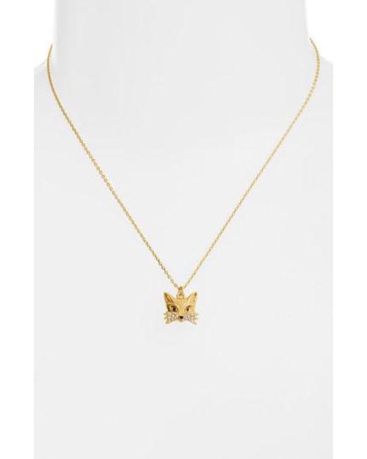 Kate Spade - Metallic Fox Mini Pendant Necklace - Lyst