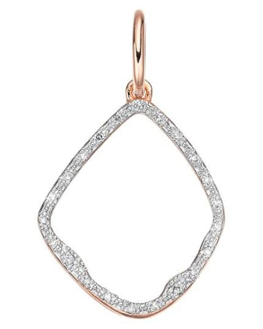 Monica Vinader | Pink 'riva' Diamond Hoop Pendant | Lyst
