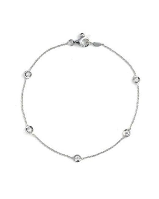Roberto Coin | White Diamond Bezel Station Bracelet | Lyst