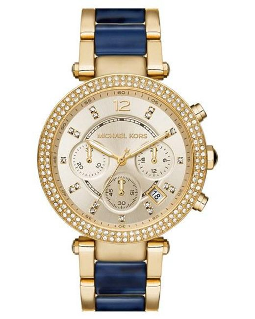 Michael Kors | Blue Michael Kors 'parker' Chronograph Bracelet Watch | Lyst