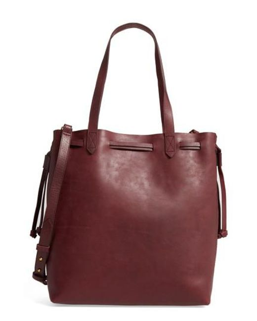 Madewell - Multicolor Medium Transport Leather Bucket Bag - Burgundy - Lyst