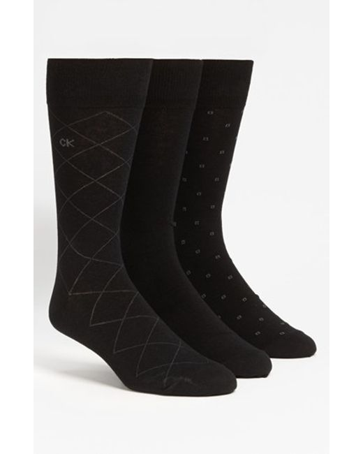 Calvin Klein | 3-pack Patterned Socks, Black for Men | Lyst