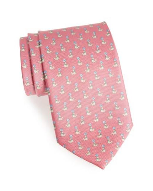 Ferragamo   Pink Seal Print Silk Tie for Men   Lyst