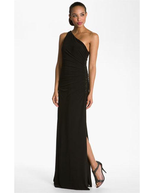 Laundry by Shelli Segal | Black Beaded Panel One-shoulder Jersey Gown | Lyst