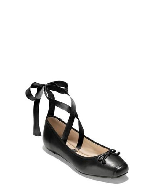 Cole Haan - Black Downtown Ankle Wrap Ballet Flat - Lyst