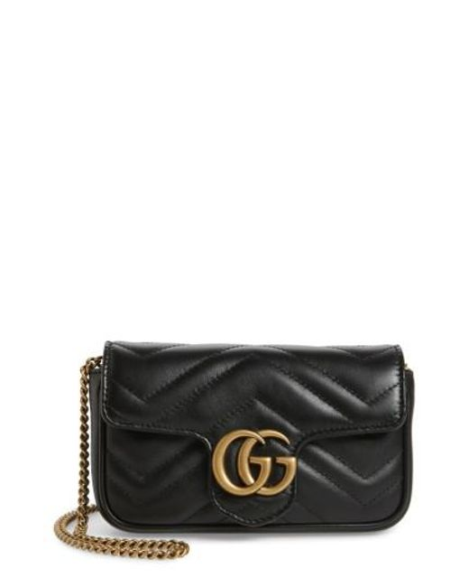 f0575620447872 Gucci | Black Supermini Gg Marmont 2.0 Matelasse Leather Shoulder Bag |  Lyst .