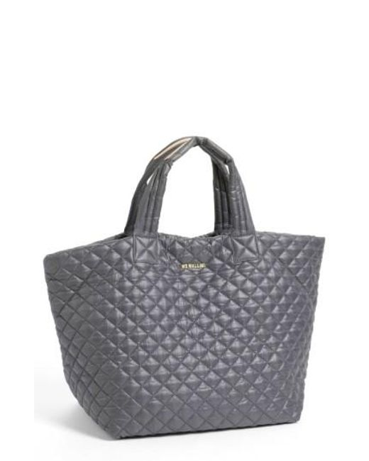 MZ Wallace | Gray 'large Metro' Quilted Oxford Nylon Tote | Lyst