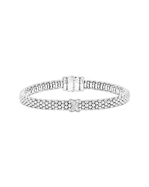 Lagos   Metallic Caviar 'signature Caviar' Diamond Rope Bracelet   Lyst