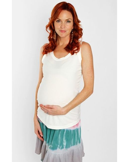 Everly Grey | White 'maggie' Maternity Tank | Lyst