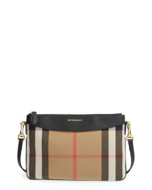 Burberry | Black 'peyton - House Check' Crossbody Bag | Lyst