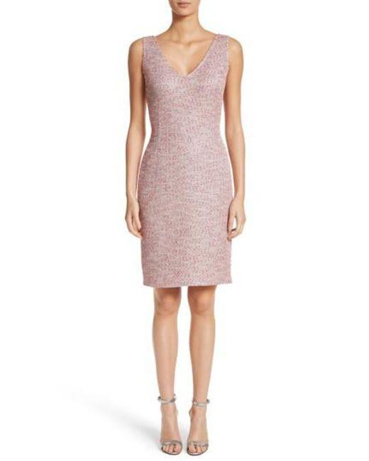 St. John | Pink Metallic Tweed Sheath Dress | Lyst