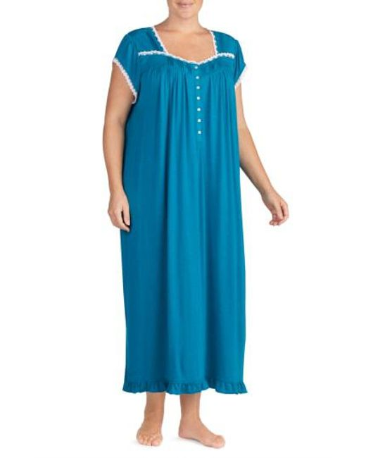 Eileen West - Blue Long Nightgown - Lyst