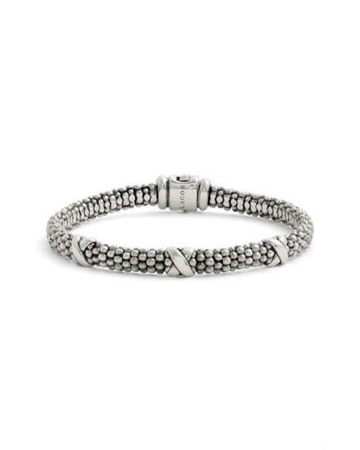 Lagos   Metallic 'signature Caviar' Mini Oval Rope Bracelet   Lyst