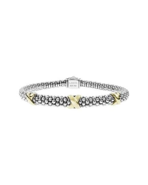 Lagos | Metallic 'signature Caviar' Two-tone Mini Oval Rope Bracelet | Lyst