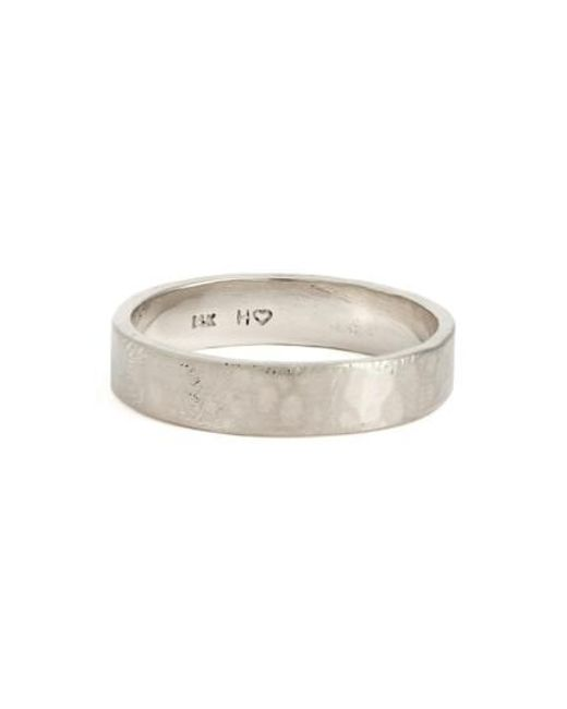 Wwake | White Harmony Flat Classic Hammered Band Ring (nordstrom Exclusive) | Lyst