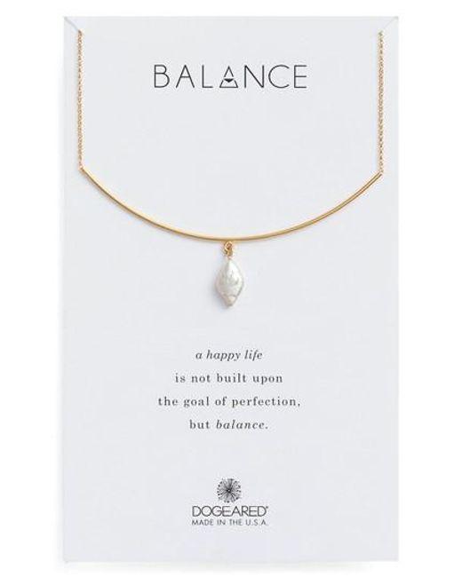 Dogeared   Metallic Balance Pearl Bar Necklace   Lyst