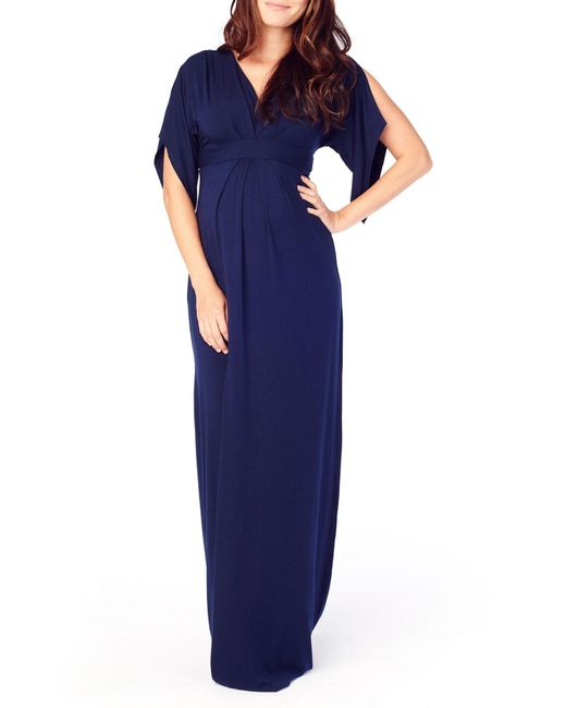 Ingrid & Isabel - Blue Split Kimono Sleeve Maternity Maxi Dress - Lyst