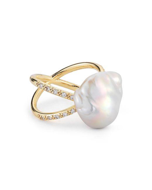 Mizuki - Metallic Pearl & Diamond Crossover Ring - Lyst