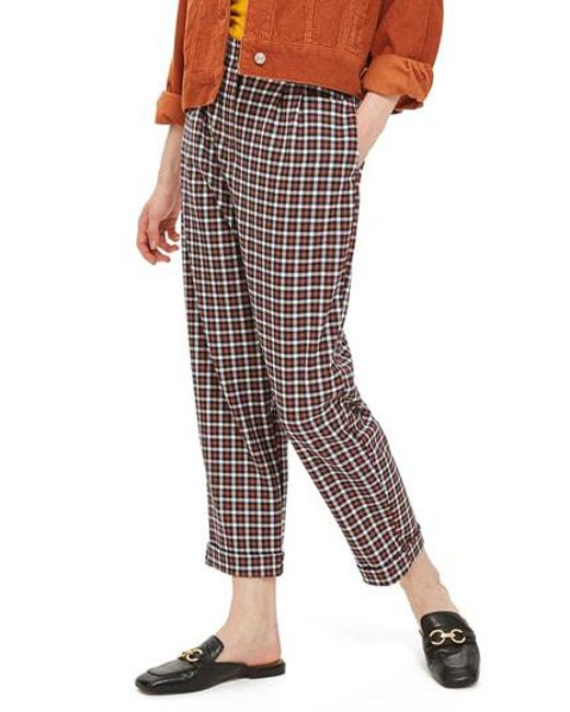 TOPSHOP - Multicolor Tapered Checkered Trousers - Lyst
