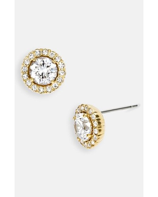 Nadri | Metallic Round Cubic Zirconia Stud Earrings | Lyst