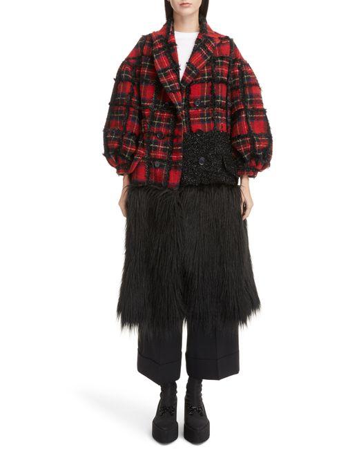 Simone Rocha - Black Checked Tweed Coat - Lyst